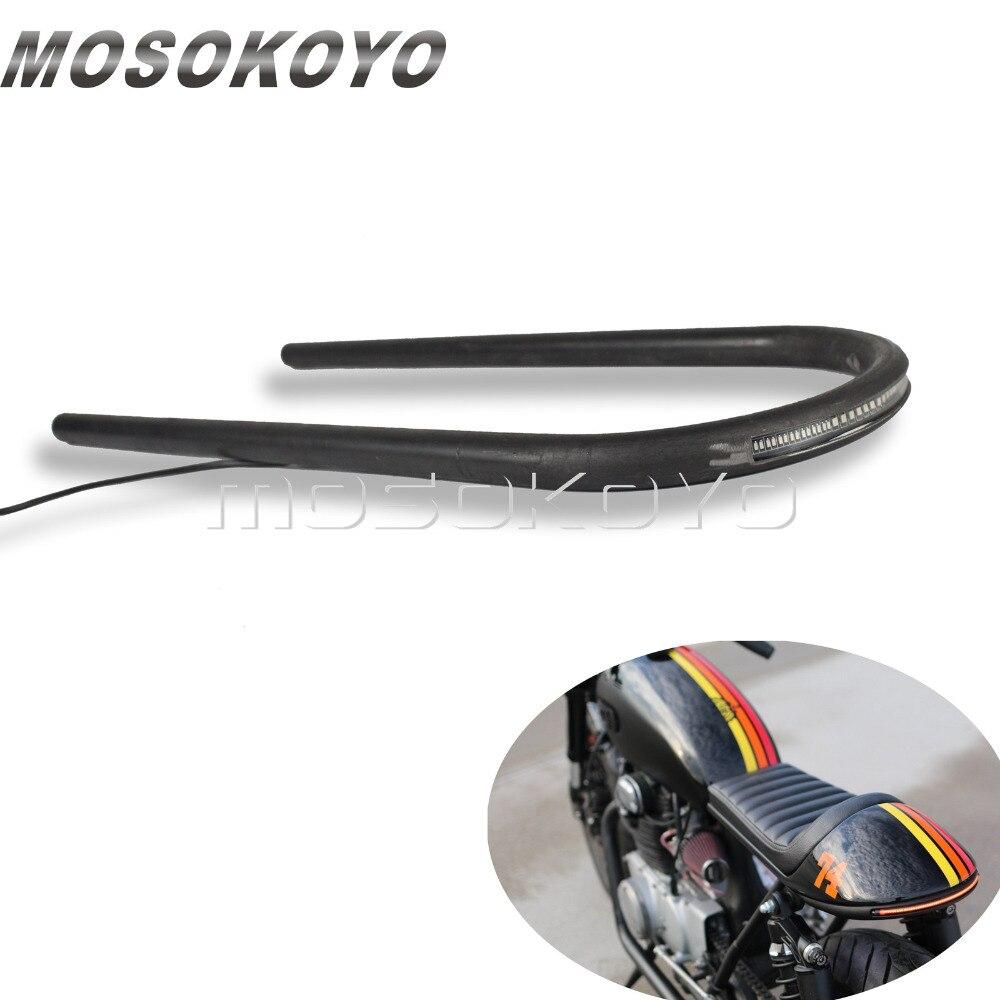 Moto Lungo Posteriore Telaio del Sedile Del Cerchio Loop w/LED della Coda di Girata della Luce di Freno per Harley Cafe Racer Scrambler Triumph yamaha XS650