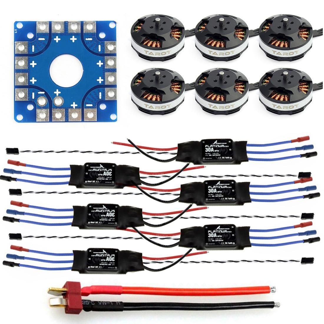 Kit ensamblado 30A ESC + Tarot 620Kv Motor + conectores de placa de conexión KK ESC Cable de enchufe Dean T para F04997-D Hexacopter de 6 ejes