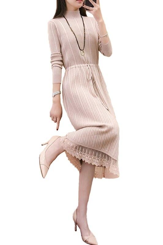JOYINPARTY nueva moda mujer elegante Otoño Invierno cuello alto manga larga plisado suéter vestido suelto tejido delgado vestido cálido