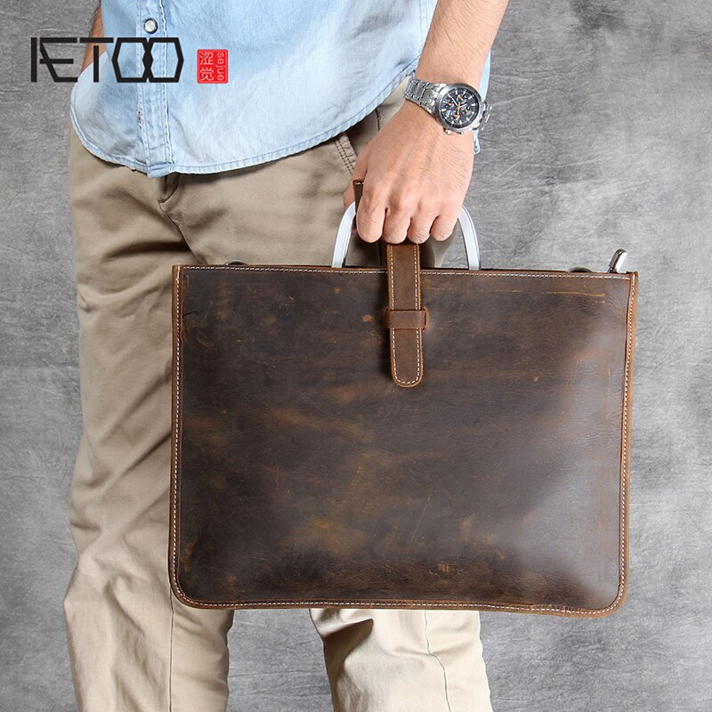 AETOO Simple Classic head cowhide portable briefcase male leather shoulder bag aetoo handmade leather wallet head layer cowhide money clip simple design male and female general