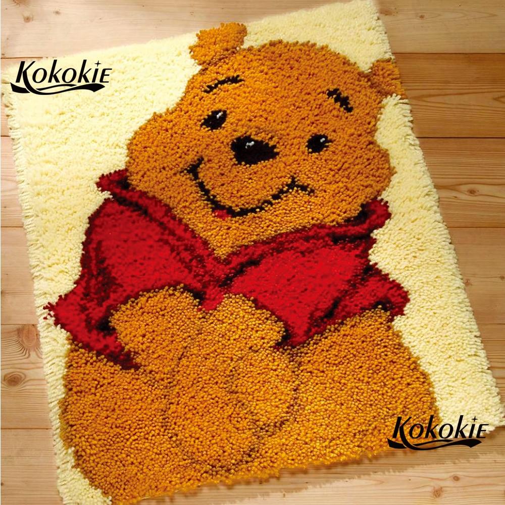 Diy tapijt lona impressão dos desenhos animados tapete do gancho da trava vloerklee foamiran para needleworksets knooppakket gordura urso crochet tapis decoração