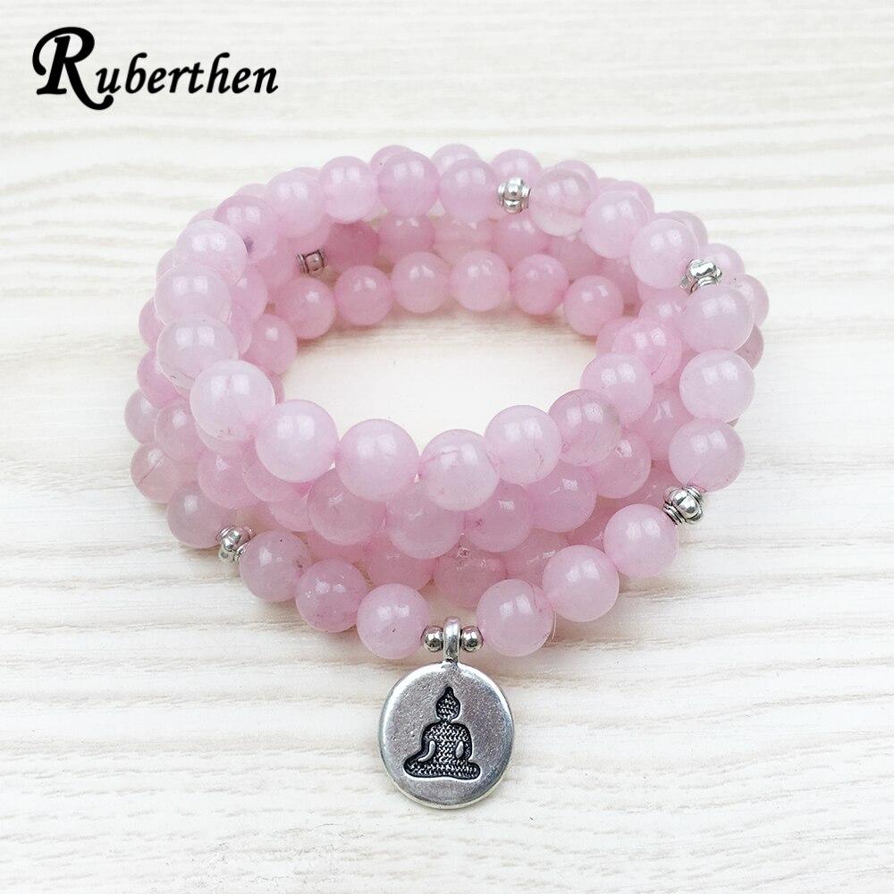 Ruberthen venta superior 108 Rosa Piedra Natural Mala pulsera mujeres Yoga joyería budista Chakra collar corazón Yoga Lotus pulsera