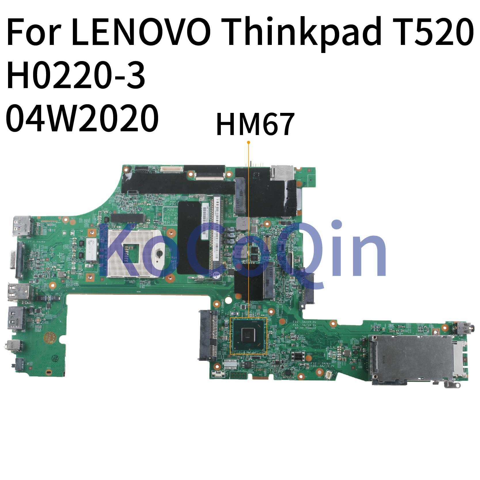 KoCoQin اللوحة الأم لأجهزة الكمبيوتر المحمول لينوفو ثينك باد T520 04W2020 H0220-3 48.4KE34.011 HM67