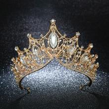 KMVEXO Vintage reine princesse grande couronne mariage mariée diadème cheveux bijoux ornements pour femmes or cristal diadème reconstitution historique