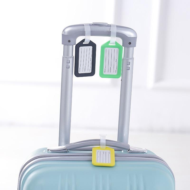 100 Uds. Etiqueta de equipaje de plástico de protección del medio ambiente Etiqueta de embarque tarjetas de embarque bolsas de embalaje Etiquetas de equipaje