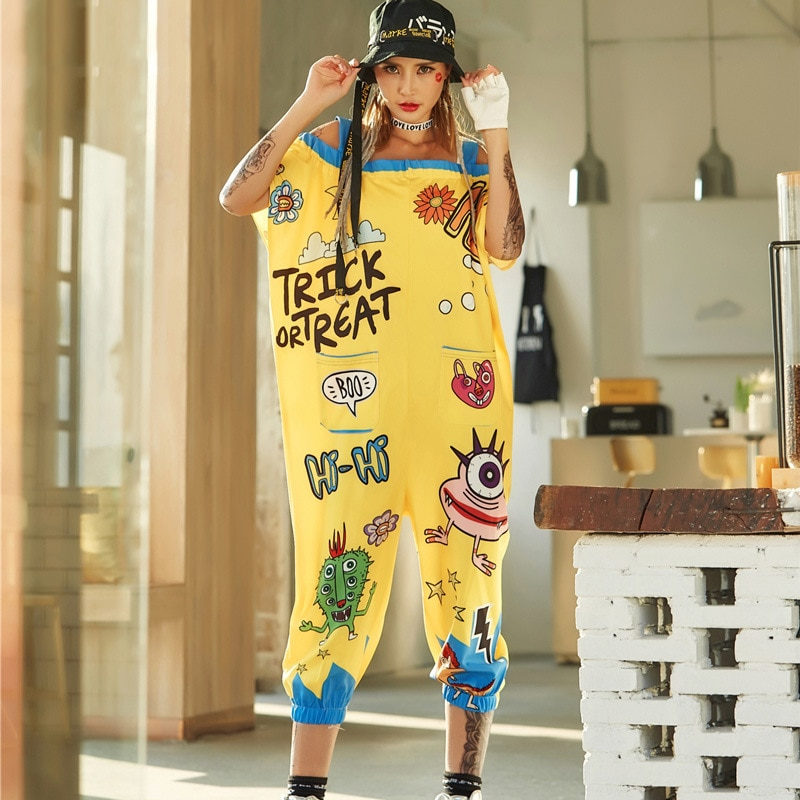 2018 Hip Hop Streetwear Jumpsuits Summer Europe Fashion Graffiti Street Female Loose Printing Long T-shirt Women Short Sleeve