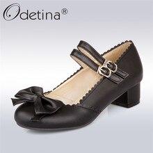 Odetina 2019 nouvelle mode femmes Double boucle sangle pompes nœud carré talons bas doux Lolita chaussures dames pompe grande taille 50