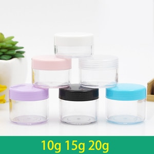 100pcs 10g 15g 20g Portable Transparent Small Bottle Sample Cosmetic Containers  Empty Eyeshadow Lip Balm Face Cream Storage Jar
