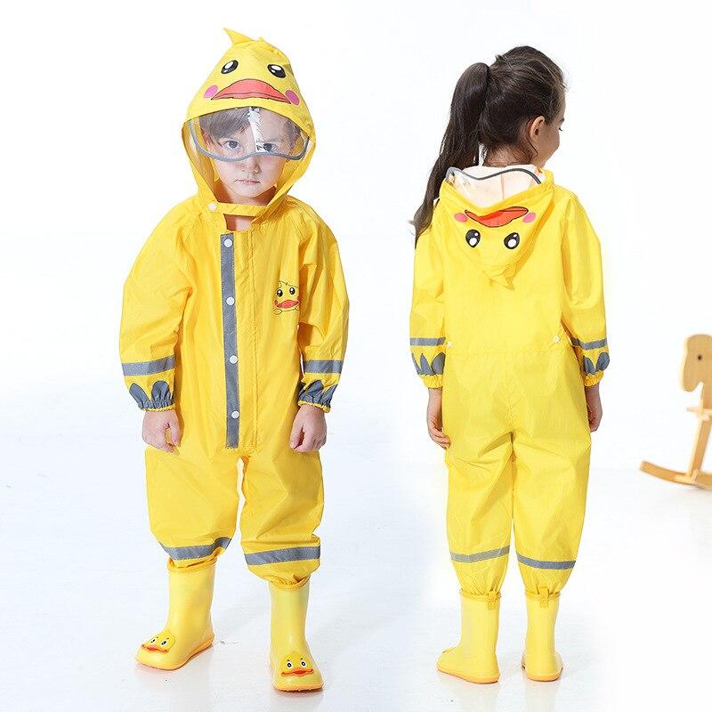 Yuding 2-9 años de moda impermeable mono impermeable con capucha dibujos animados niños de una sola pieza chubasquero Tour niños traje de lluvia