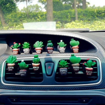 Set of 6pcs Resin Cactus Car Air Conditioning Vent Perfume Clip Creative Cute Air Freshener Fragrance Decoration Auto Ornaments