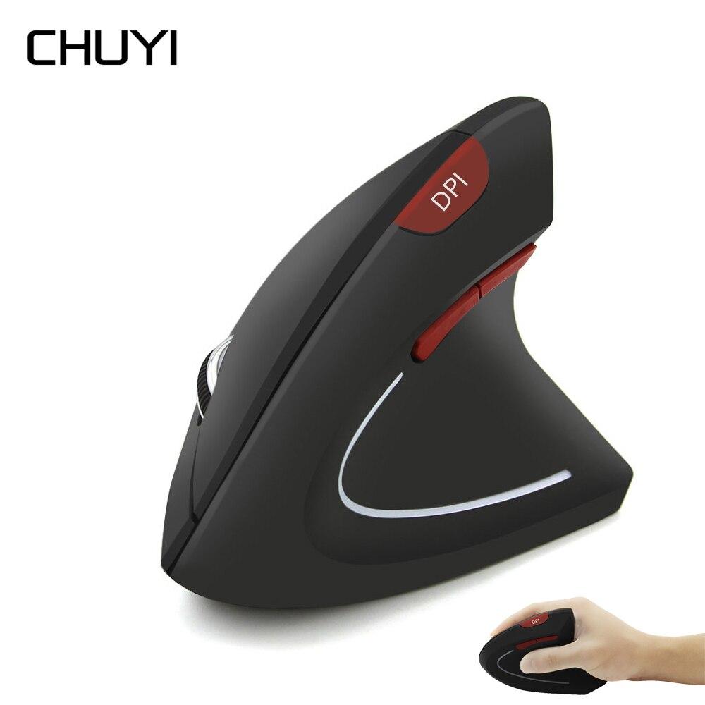 Chuyi mouse vertical sem fio ergonômico jogo mause usb 800-1200-1600dpi computador ratos com jogo da almofada do mouse para o computador portátil
