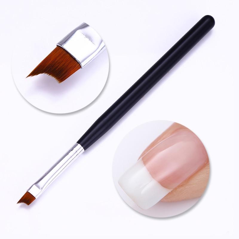 1 Pc French Tips Nail Brush UV Gel Painting Drawing Pen Black Matte Acrylic Handle  DIY Kit Nail Art Tool
