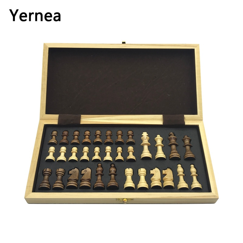 Chess Wooden Wooden Checker Board Solid Wood Pieces Folding Chess Board High-end Puzzle Chess Game Yernea