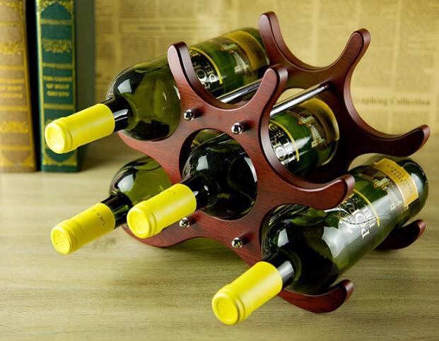 1PC Wine Racks Wooden Wine Bottle Holder for 6 Bottles Wine Stand Shelf Tabletop Decoration Home Bar Storage Shelf JB 2042