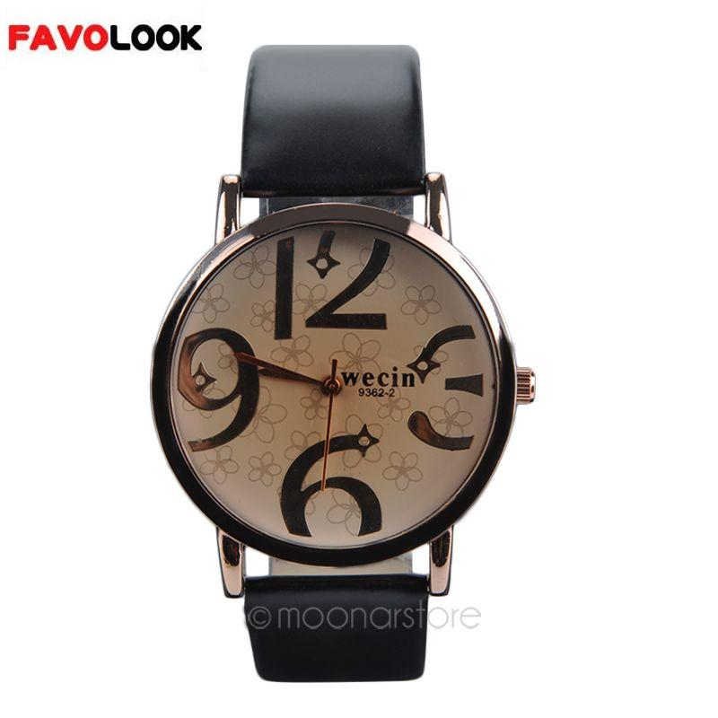 Novedad, reloj de cuarzo con esfera de Número grande de diseño único, correa de cuero de leopardo, relojes informales para mujer, reloj femenino