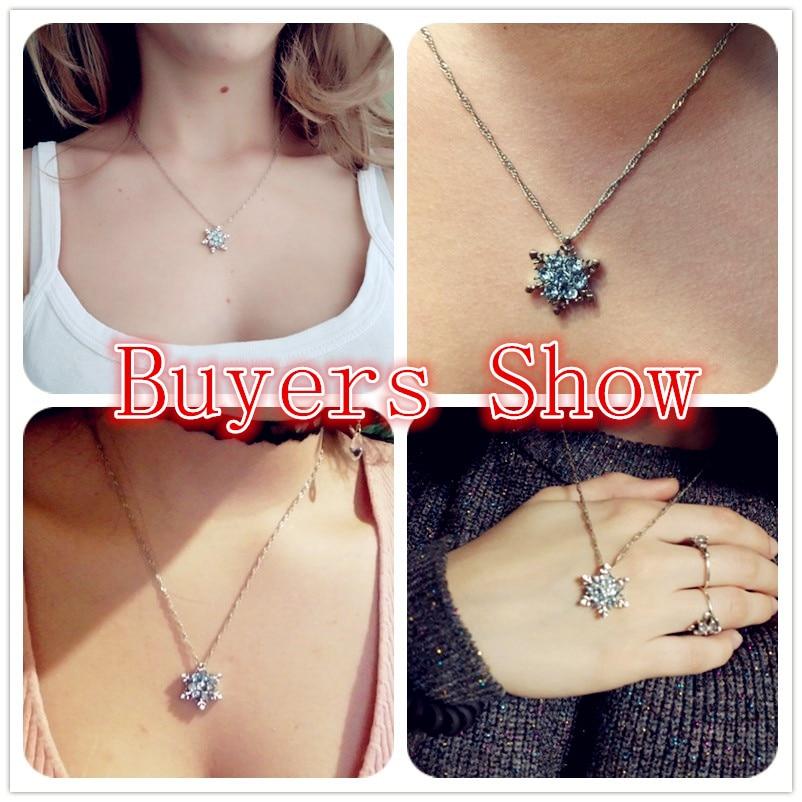 Charme Vintage dame Blau Kristall Schneeflocke Zirkon Blume Halsketten & Anhänger Schmuck geschenk für Frauen mädchen Großhandel