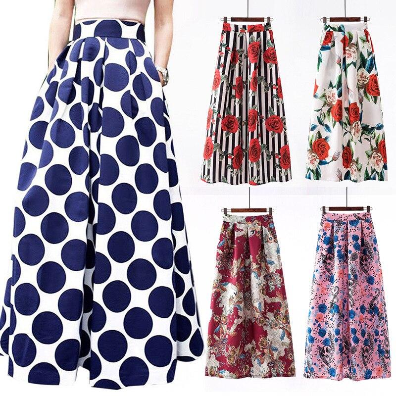 Diseño geométrico, floral largo gótico maxi plisado verano ropa de calle boho sexy de talla grande rokjes plissee las mujeres faldas de oficina 2019