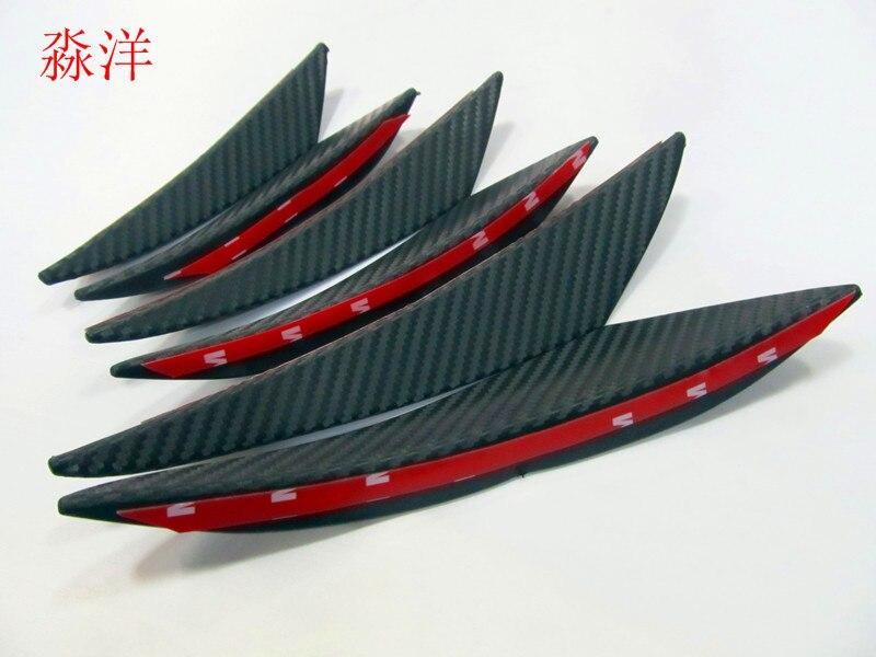 6 uds con apariencia de fibra de carbono con separador de labios de parachoques delantero aletas cuerpo alerones Valence Chin para Mercedes Audi BMW coche-estilo