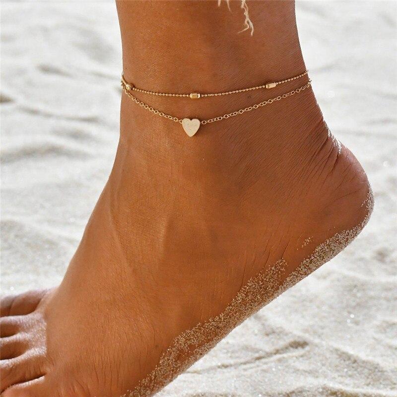 Tobilleras multicapas S016 de estilo bohemio de ganchillo, joyería de pies para sandalias, tobilleras de pierna para pie, pulseras de tobillo para mujer