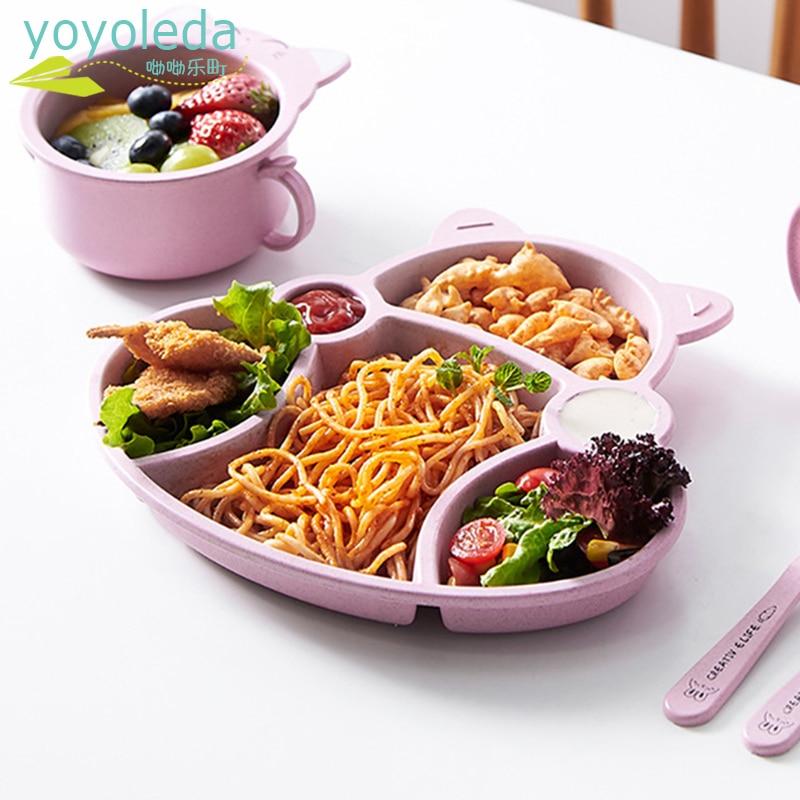 3 unids/set vajilla conjunto de dibujos animados lindo plato de gato cuchara tenedor Natural vajilla paja trigo de la placa de la cena de la fruta postre aperitivos platos