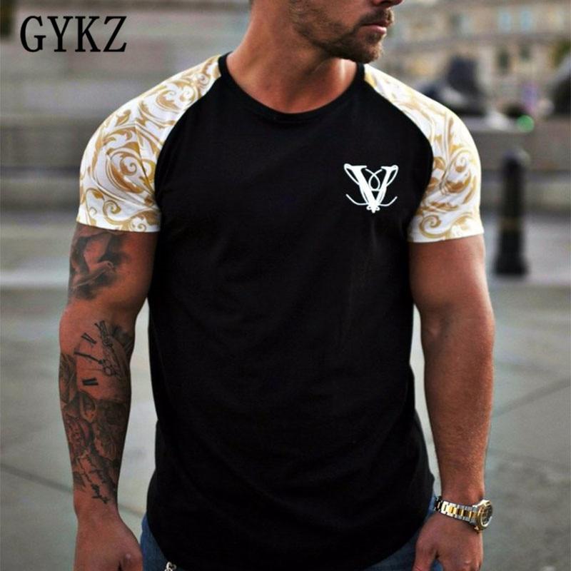 Gykz homens verão ginásios fitness camiseta moda musculação camisas finas impressas o-pescoço manga curta t algodão topos roupas