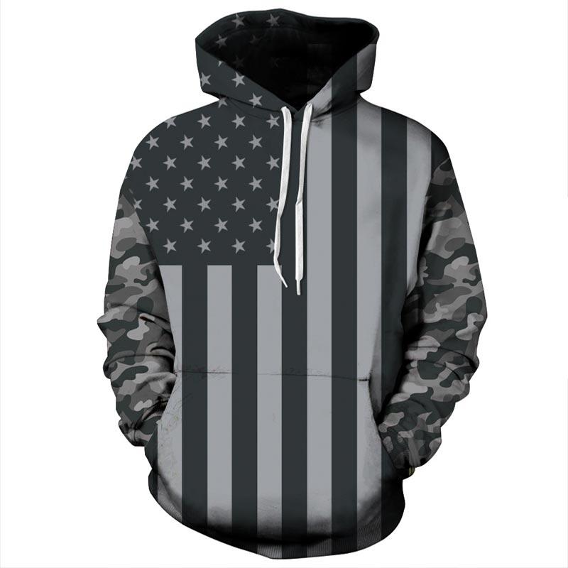 2018 moda hombres mujeres negro blanco bandera americana impresión 3D Sudadera con capucha jerseys otoño chándal invierno suelta delgada Hoody