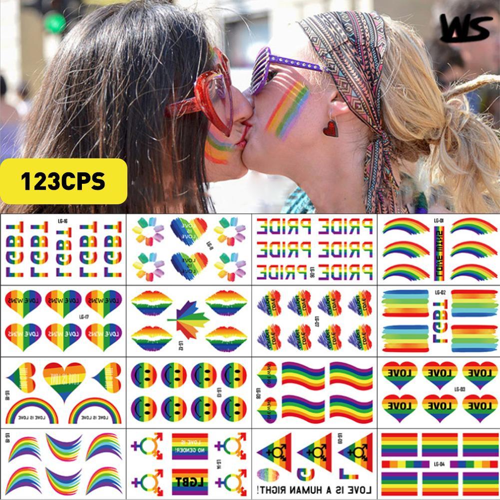 Autocollants lesbiennes Gay fierté drapeau arc-en-ciel   Étiquette cœur amour LGBT, décorations pour défilés et fêtes festives, #, 123