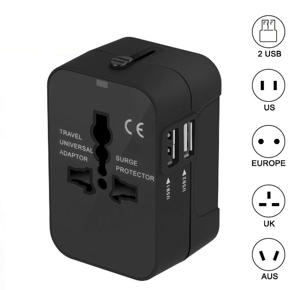 Grupo Vertical adaptador de viaje Universal potencia internacional enchufe Puerto USB 2 mundial de alimentación de CA adaptador de cargador