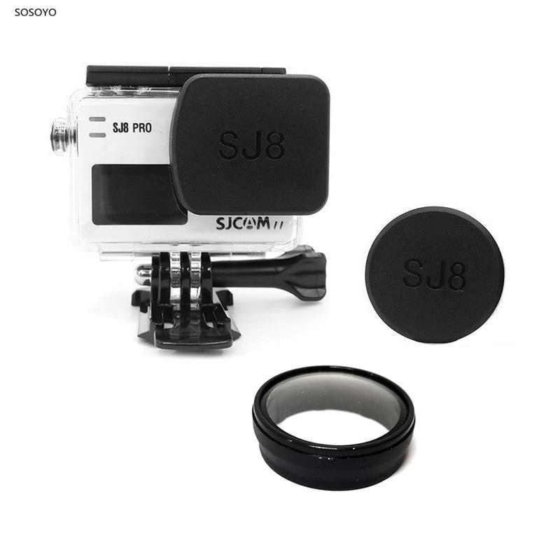 1 pcs Caso Tampa Da Lente À Prova D Água + 1 pcs Protetor Cap Lens Hood + Lente filtro UV Para SJCAM SJ8Pro SJ8plus SJ8Air Action Camera