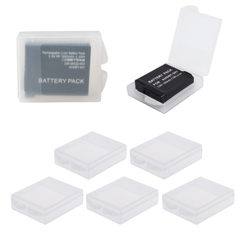 Caja de almacenamiento protectora de batería de 5 piezas funda transparente para GoPro Hero 5 Hero 4 xiaomi Yi accesorios de cámara hyq
