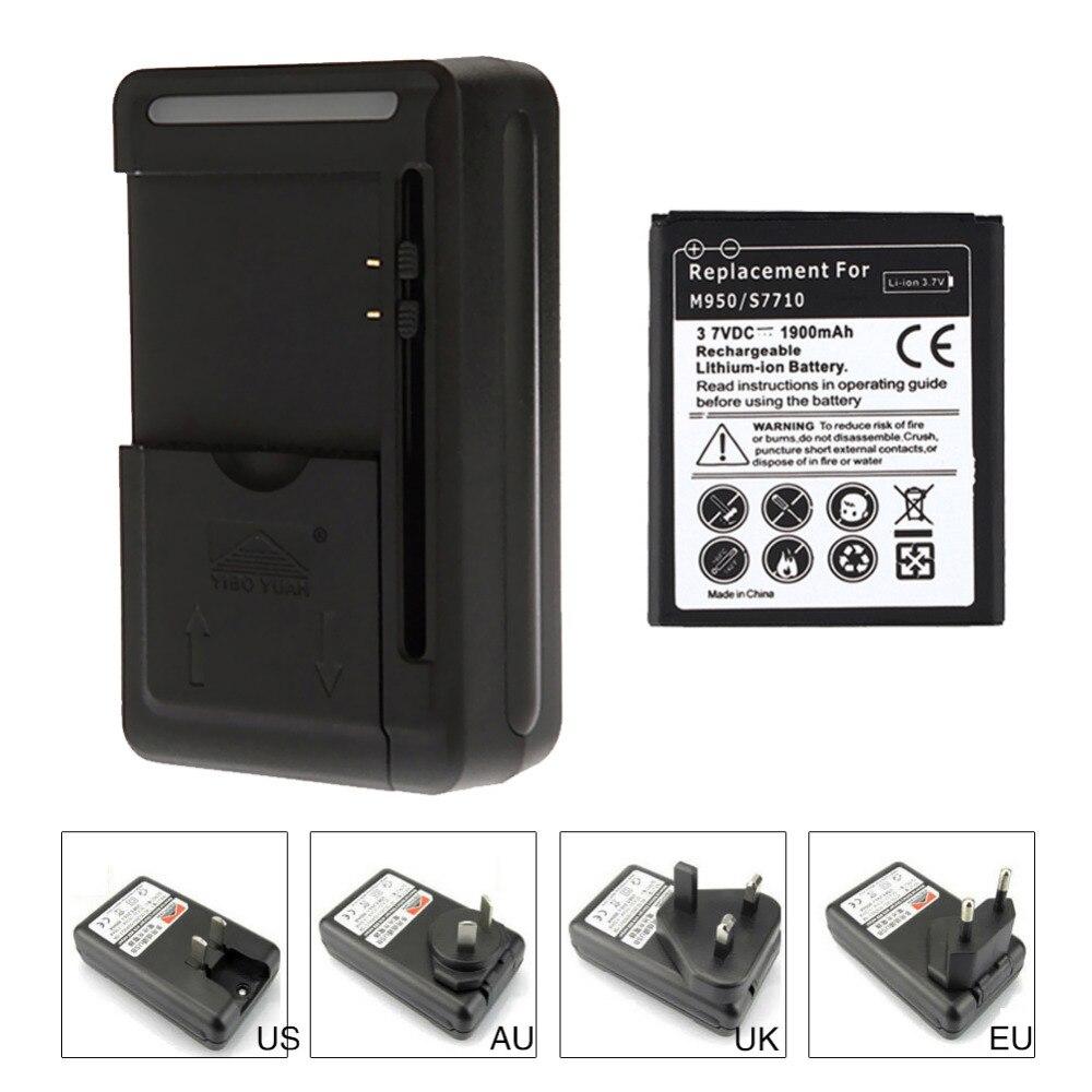 1900mAH reemplazo de batería de teléfono móvil para Samsung Galaxy reverberación Galaxy Xcover 2 S7710 M950 Batteria + cargador de viaje de pared con USB