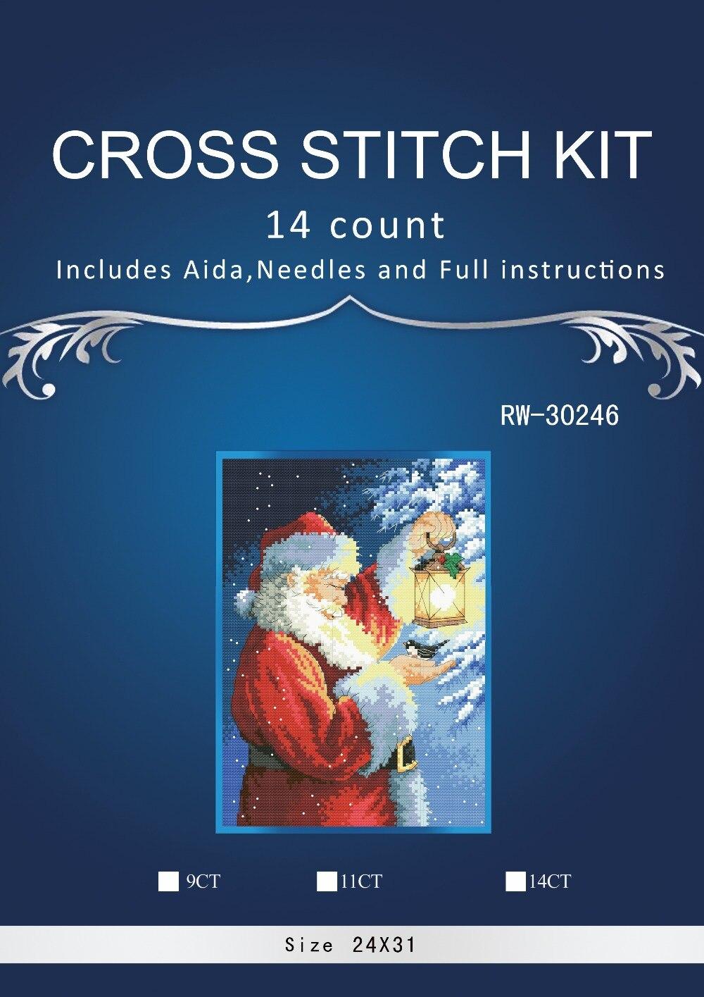 Alta Qualidade Lindo Contados Cross Stitch Kit Fea8thered Amigo do Papai Noel Papai Noel e Pássaro Lanterna Natal noite DIM 03