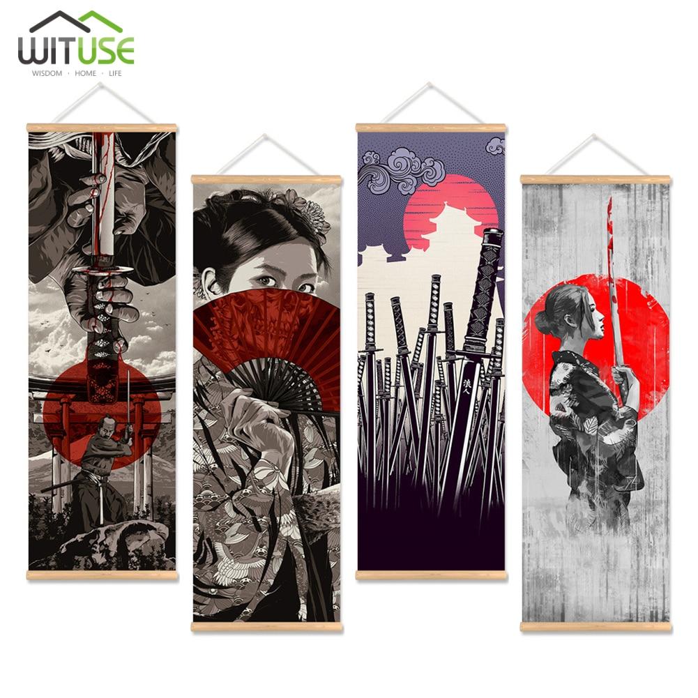 Creativo Samurai japonés pintura lienzo imprimir cartel con gancho de madera pared arte imagen sala de estar decoración del hogar