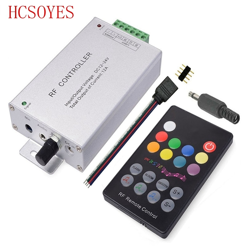 DC12V-24V 18 touches rvb musique LED de contrôle RF capteur sonore à distance voix Audio contrôle pour 3528 5050 RGB LED bande lumineuse