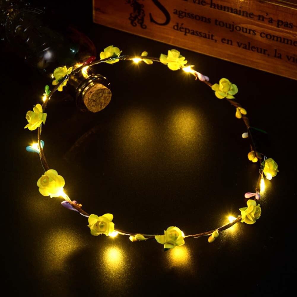 1/10 Uds de moda DIY LED efecto banda corona pelo flor corona boda Casual guirnaldas señora decorativas accesorios para el cabello fiesta