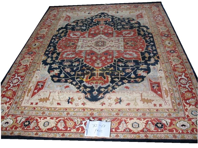 Alfombras turcas hechas a mano originales de exportación única, Alfombra de pura lana Ozarks OUSHAK x2-63 9x12gc158zieyg14