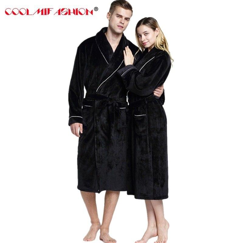 Мягкий удлиненный теплый фланелевый банный халат кораллового цвета для мужчин и женщин, мужской Халат-кимоно, мужской халат для влюбленных,...