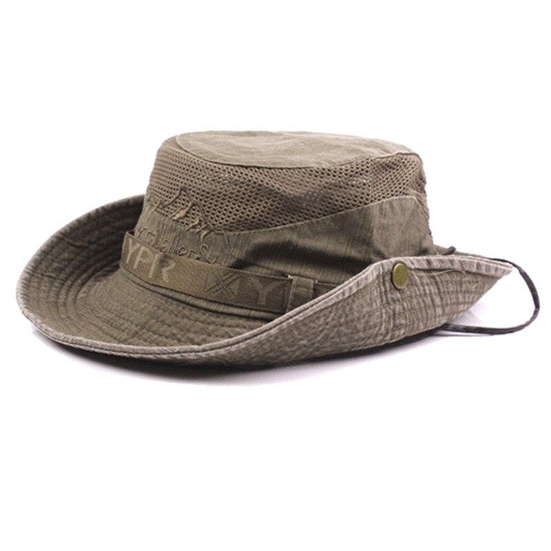 ¡Oferta! Sombrero de algodón bordado para hombre, sombrero de sol de playa para exteriores, protección de ala ancha, sombrero de pescador Boonie plegable