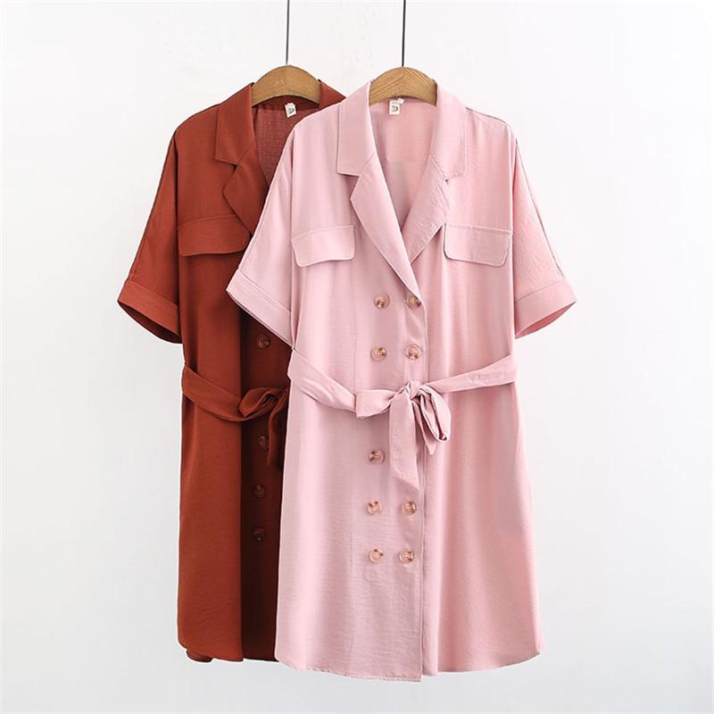 Vestido de talla grande WSYORE 2019 nuevo verano talla grande MM holgado manga corta doble botonadura ropa femenina NS982