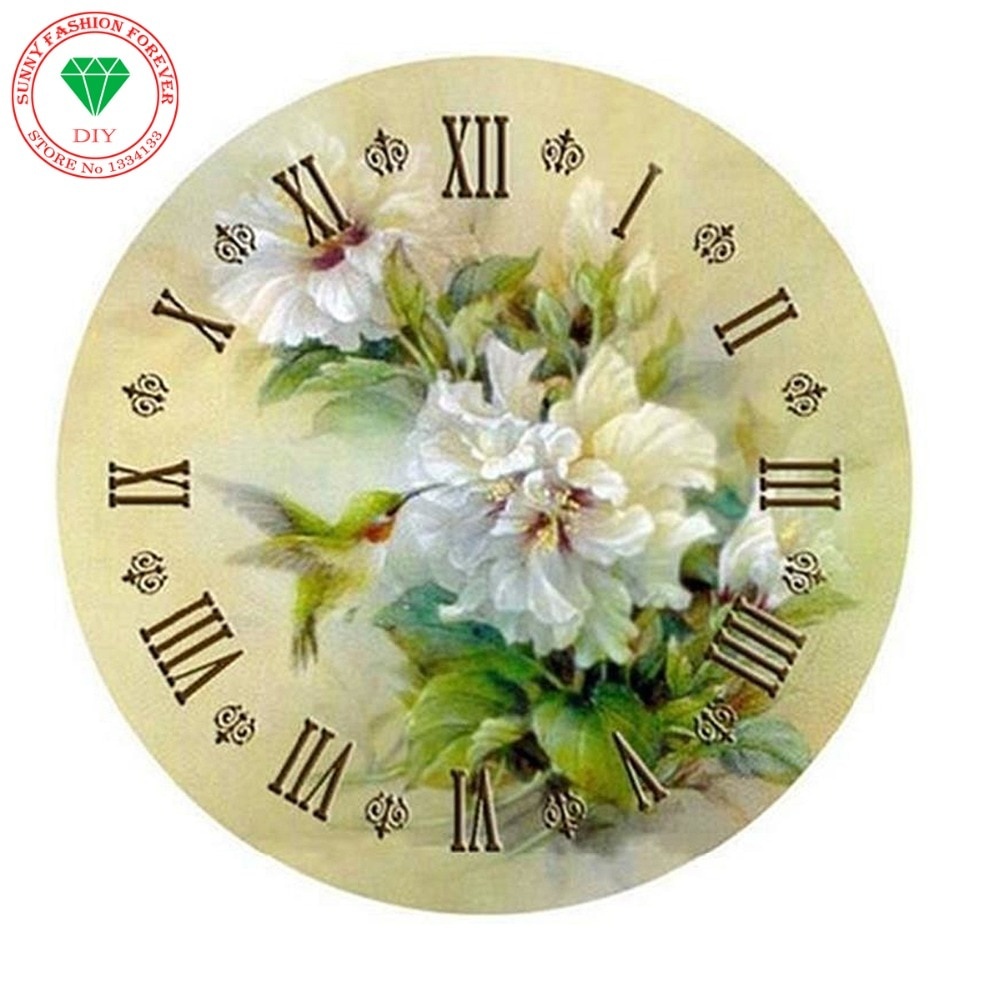 DIY pintura de diamante bordado flores cuentas cuadradas completas mosaico bordado de diamantes diseño de lobo decoración pintura reloj