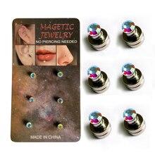 Mode 3mm boucle doreille magnétique non piercing boucle doreille aimant cristal nez Stud 3 paires/pack