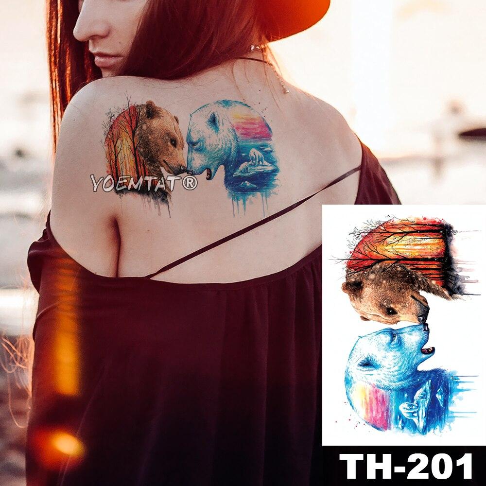 Tatuaje temporal impermeable pegatina oso Polar y oso bosque patrón animales transferencia de agua cuerpo arte flash falso tatoo