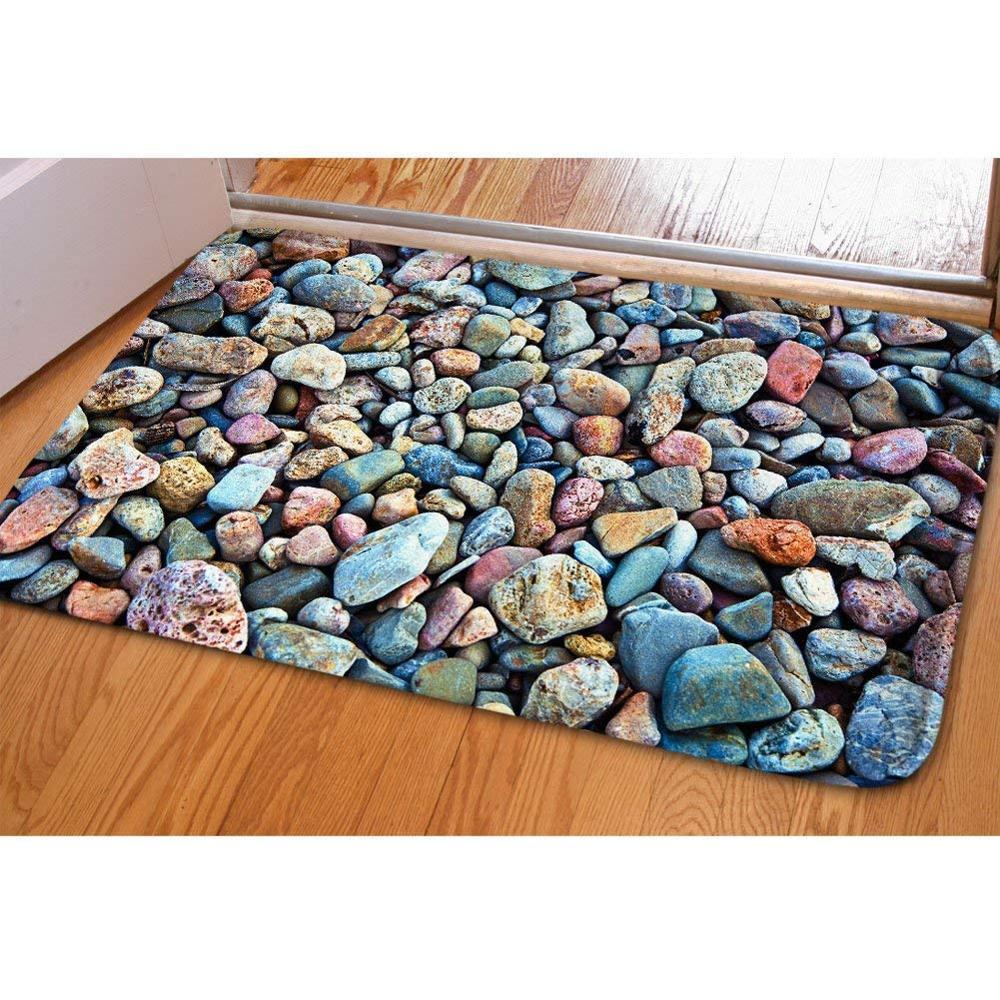 Alfombra con diseño de piedras adoquín en 3D, felpudo para puerta, cocina al aire libre, sala de estar, alfombra, alfombra impermeable para pasillo, Felpudo de bienvenida