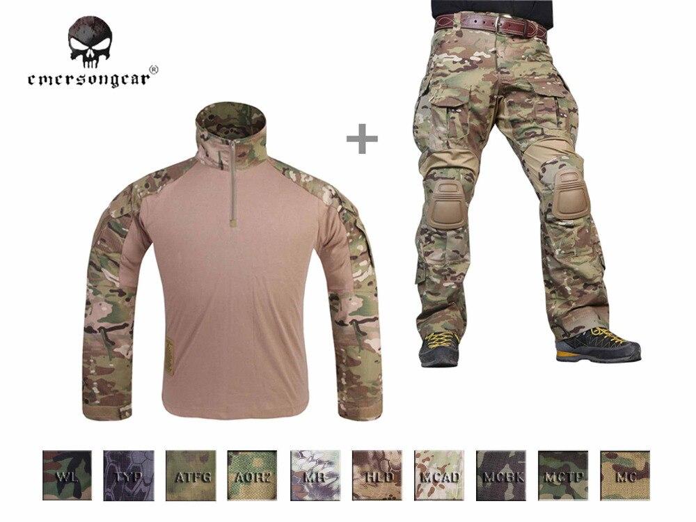 Los hombres militar Airsoft BDU contra uniforme Emerson táctico Gen3 camisa y pantalones rodilla almohadillas Multicam negro AOR,