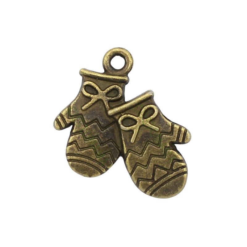 80pcs-Antique Tibetan Silver Mitten Charms Pendant, Gloves Charm  19x16mm