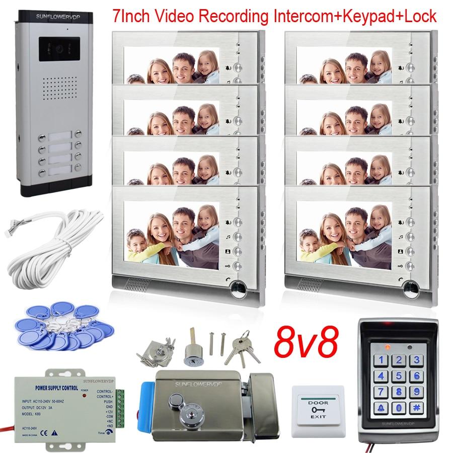 """Video grabacion Video puerta telefono Control de acceso teclado Doorphone Intercom Kit para 8 unidades intercomunicador con memoria de pantalla Color 7"""""""