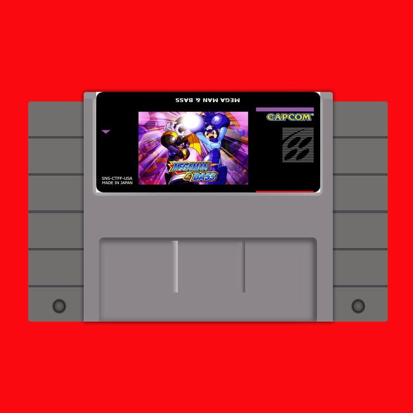 Megaman & Bass-tarjeta de juego grande gris de 16 bits, para jugador...