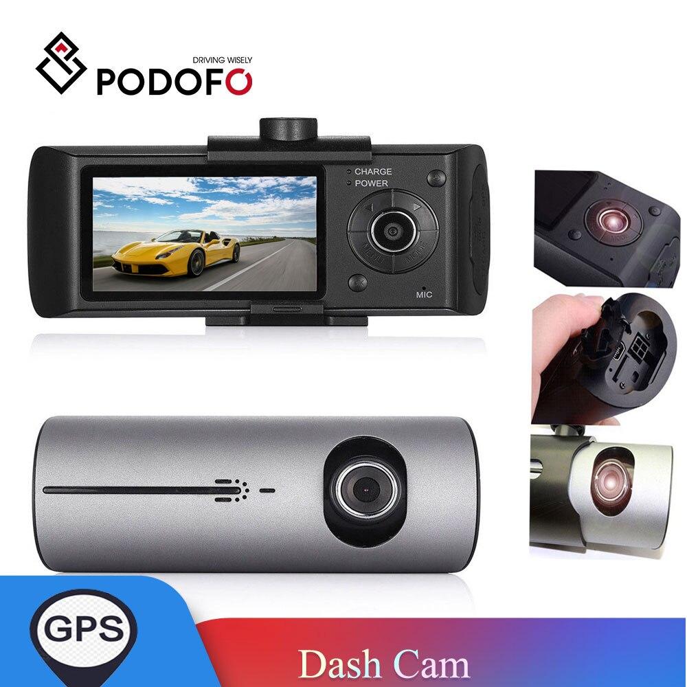 """Podofo coche DVR cámara de salpicadero 2,7 """"GPS Cámara Dual lente R300 Cámara 140 grados Video grabadora coche DVR con GPS/SD/g-sensor videocámara"""