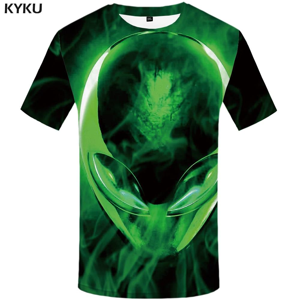 Camiseta 3d de Alien, camisetas informales con estampado de calavera para hombre, camiseta Harajuku, camiseta de Cosplay estampada en negro, camisetas de manga corta en 3d