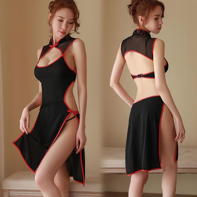yhotmeng new sexy perspective backless Chinese style slim hips cheongsam split sleepwear nightdress set